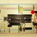 Arduino on breadboard soldered